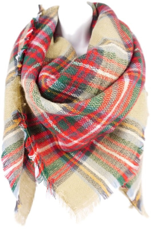 Oversized Blanket Scarf Khaki - Mix & Mingle Boutique