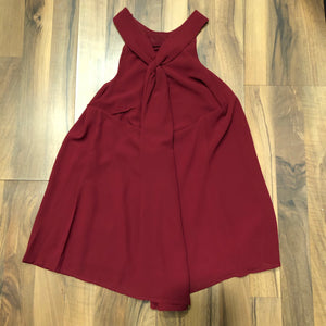 Burgundy Halter Blouse with Criss-cross Back - Mix & Mingle Boutique