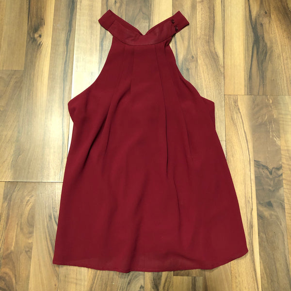 Burgundy Halter Blouse with Criss-cross Back