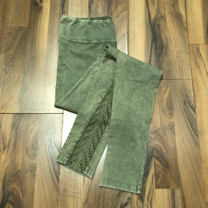 Faded Olive Crotchet Legging - Mix & Mingle Boutique