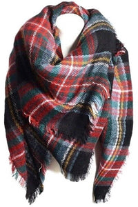 Oversized Blanket Scarf Red and Black - Mix & Mingle Boutique