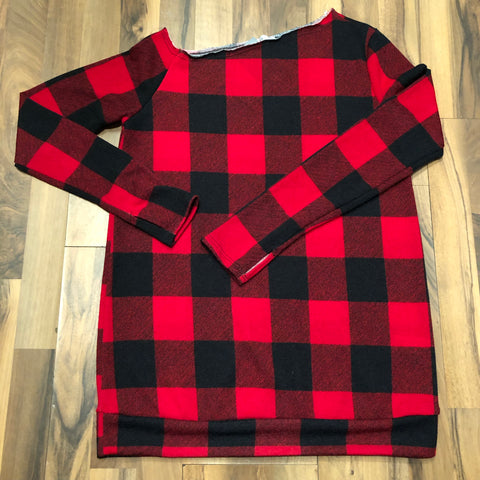 Off-shoulder Red/Black Checker Top