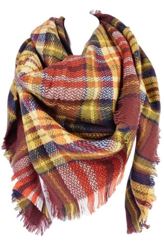 Oversized Blanket Scarf Brick - Mix & Mingle Boutique