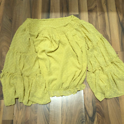 Woven Mustard Top - Mix & Mingle Boutique