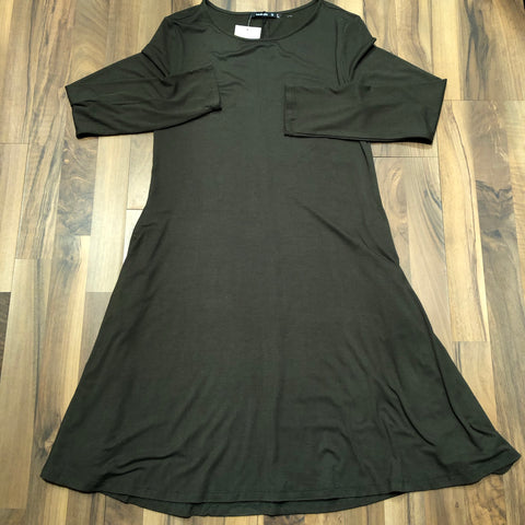 Olive Long-sleeve Jersey Dress