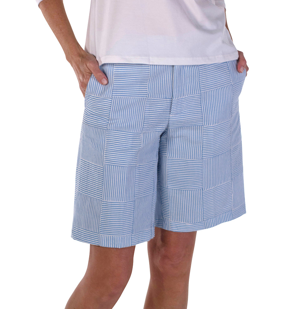 Women's Bermuda Shorts - Blue Seersucker