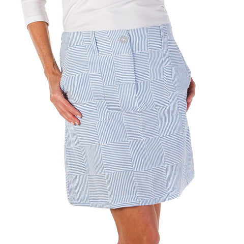 Women's Golf Skort - Blue Seersucker