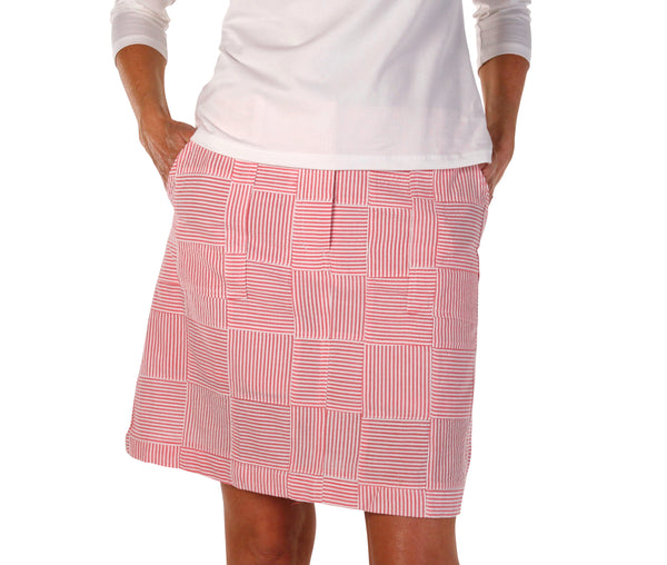Women's Golf Skort - Pink Seersucker