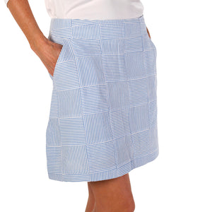 Women's Sport Skort - Blue Seersucker