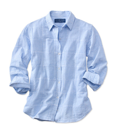 Women's Katie Shirt - Blue Seersucker