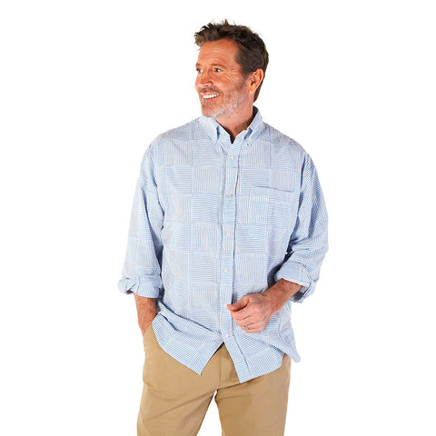 Men's Madras Long Sleeve Shirt - SS Blue