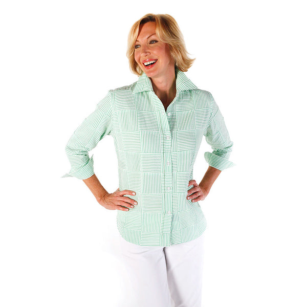 Women's Katie Shirt - Seersucker Lime