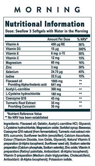Lumity Anti-Ageing Supplements Nutritional Info Morning Soft Gels