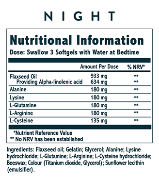 Lumity Anti-Ageing Supplements Nutritional Info Night Soft Gels