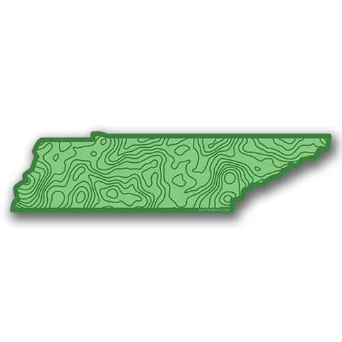 The 16th State Green Topo Sticker - surf tennessee tennessee shirts