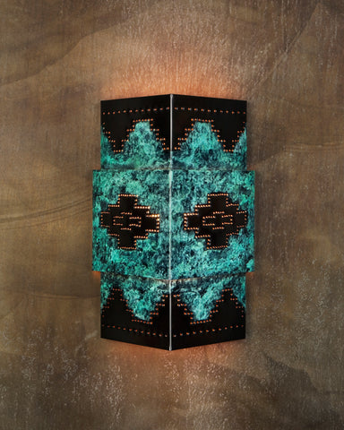 Wall Sconce-WSA-T, Mesa-Navajo design,Green-Dark Bronze