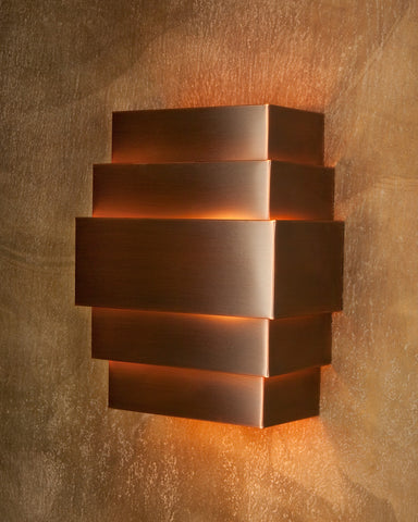 Wall Sconce-WSQ-R, Medium Bronze patina