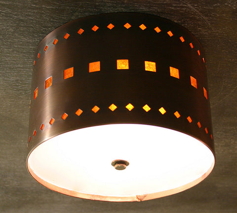 Ceiling Light - CFC, Cut Out # 5, Iridescent patina, Amber mica