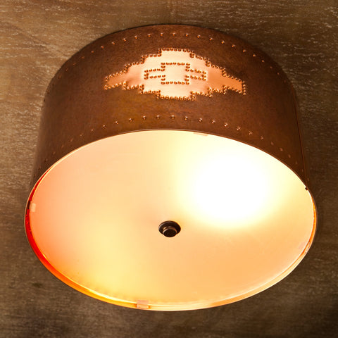 Ceiling Light - CFC, Navajo design, Ferric-Natural patina