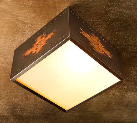 Ceiling Light - CFS, Pueblo design, Dark Bronze-Natural Copper