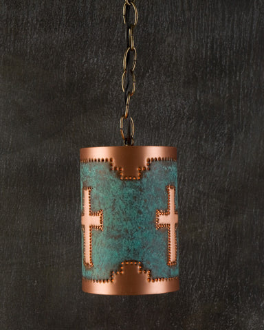 Pendant - CP, Mesa Cross design, Green Natural Copper