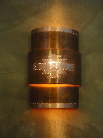Wall Sconce-WSA, Pueblo design, Ferric-Natural copper