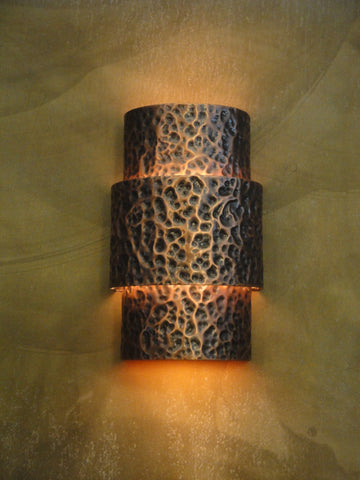 Wall Sconce-WSA, Hammered #1,Medium Bronze patina