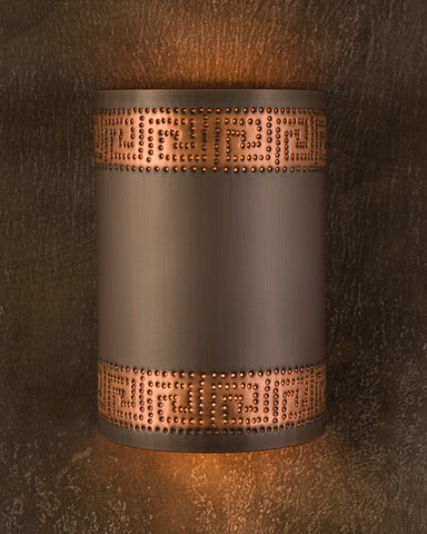 Wall Sconce-WS, Greek Key, Medium Bronze-Natural Copper patina