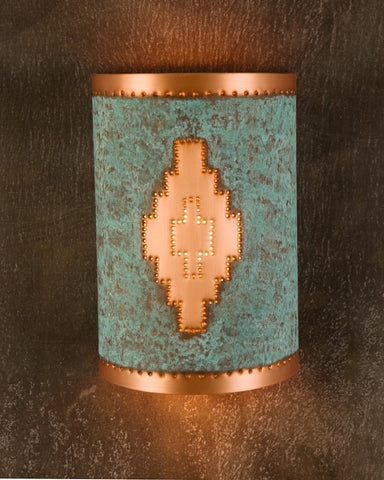 Wall Sconce-WS, Navajo design, Green-Natural Copper