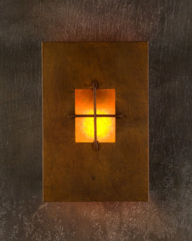 Wall Sconce-WSR, Mission, Rusty patina-Amber mica
