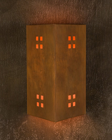 Wall sconce-WST, Windows-4, Ferric patina