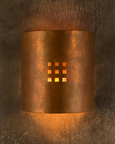 Wall Sconce-WS-EM, Windows-9, Ferric patina