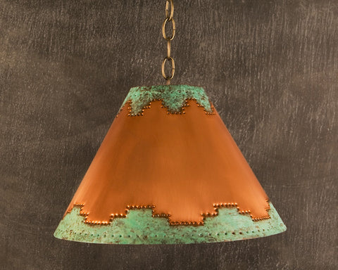 Lampshade-LS, Mesa design, Green-Natural Copper