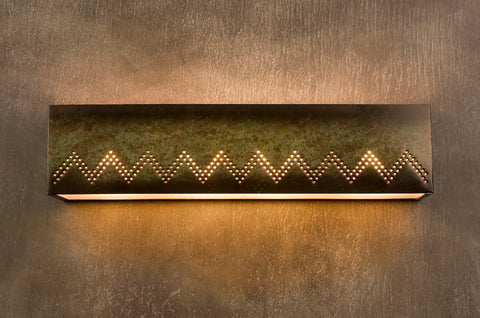 Vanity Light - VAL, Zig Zag design, Moss patina
