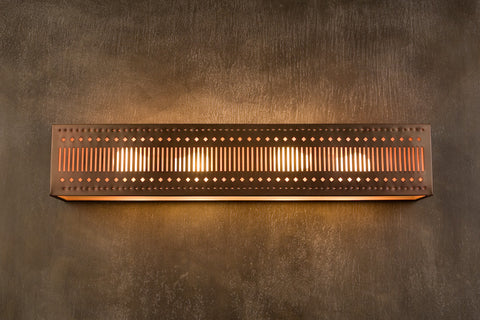 Vanity Light - VAL, Slits design, Iridescent patina