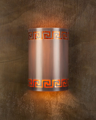 Wall Sconce - WS, Greek Key, Med Bronze patina, Amber Mica