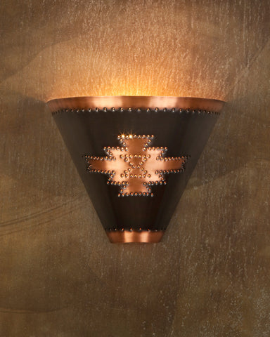 Wall Sconce-WSF, Pueblo design,Medium Bronze-Natural copper