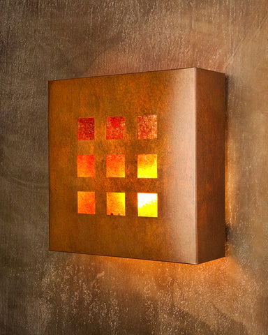 Wall Sconce - WS EMR, Windows-9, Rusty patina, Amber mica