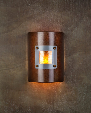 Wall Sconce - WS-M1 1107, Rusty-Med Bronze patina, Amber Mica