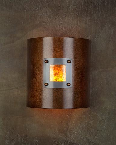 Wall Sconce - WS-M1 1110, Rusty-Med Bronze, Amber Mica