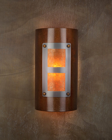 Wall Sconce - WS M2 1408, Rusty-Med Bronze patina, Amber Mica