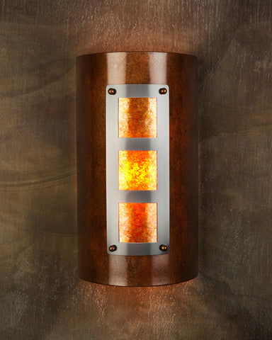 Wall Sconce - WS-M3, Rusty, Medium Bronze, Amber Mica