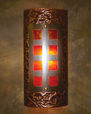 Wall Sconce - WS-Sacramento, Medium Bronze patina, Amber mica