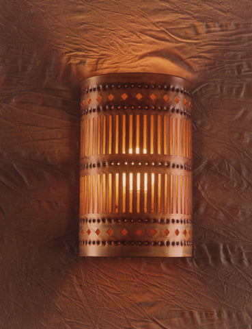 Wall Sconce-WS-SL, Slits design, Iridescent patina
