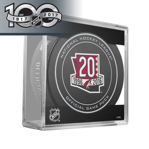 Arizona Coyotes 20th Anniversary and NHL Centennial Game Puck - 2017