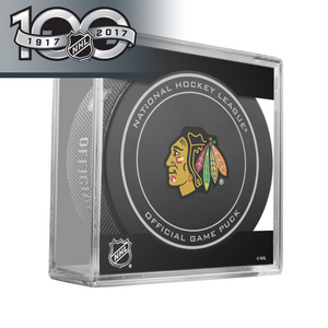 Chicago Blackhawks Official NHL Centennial Game Puck - 2017