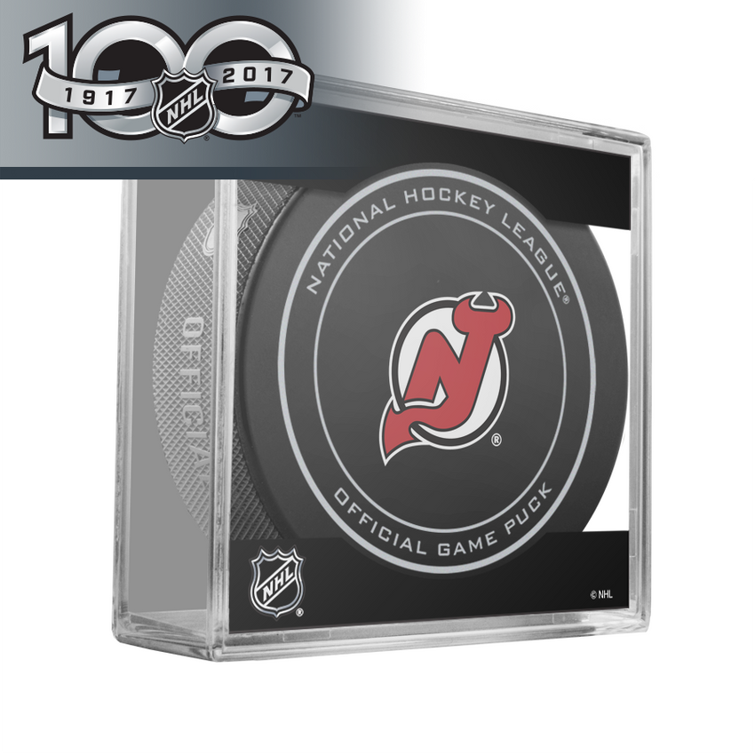 New Jersey Devils Official NHL Centennial Game Puck - 2017