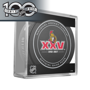 Ottawa Senators 25th Anniversary Official NHL Centennial Game Puck - 2017