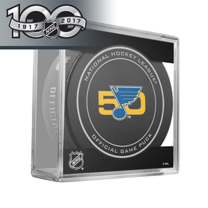 St-Louis Blues 50th Anniversary and Official NHL Centennial Game Puck - 2017