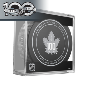 Toronto Maple Leafs 100th Anniversary and NHL Centennial Game Puck - 2017